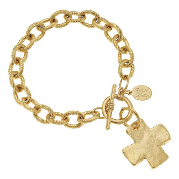 Gold Cross Toggle Bracelet by Susan Shaw