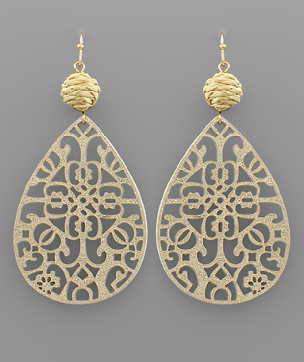 Teardrop Filigree & Rattan Earrings