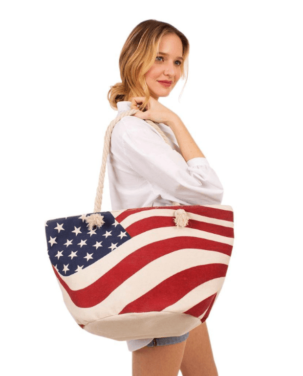 USA Flag Tote Bag With Rope Handles