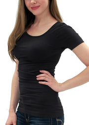 Solid Short Sleeve Top with Round Neck