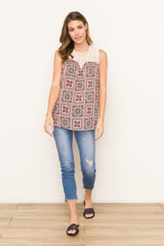 Mystree Lace Patched Print Top - Fruit of the Vine
