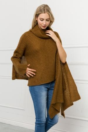 Mystree Funnel Neck Shawl in Camel - Fruit of the Vine