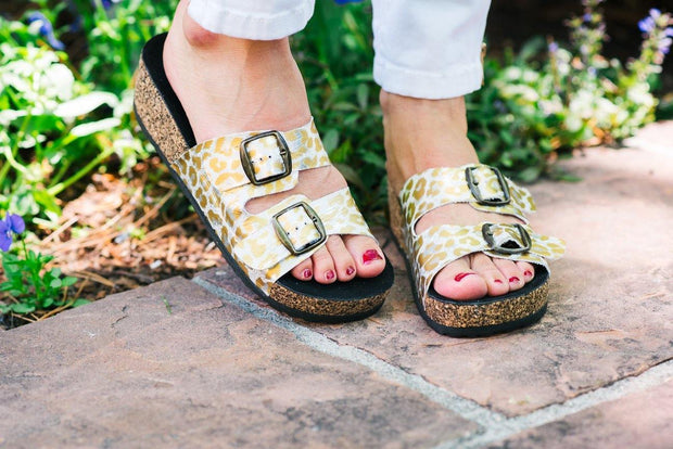 Double Strap Sandal in White Gold Leopard | CoFi Leathers | Fruit of the Vine Boutique