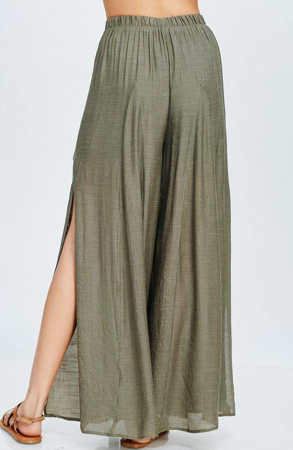 Side Slit Palazzo Pant in Olive