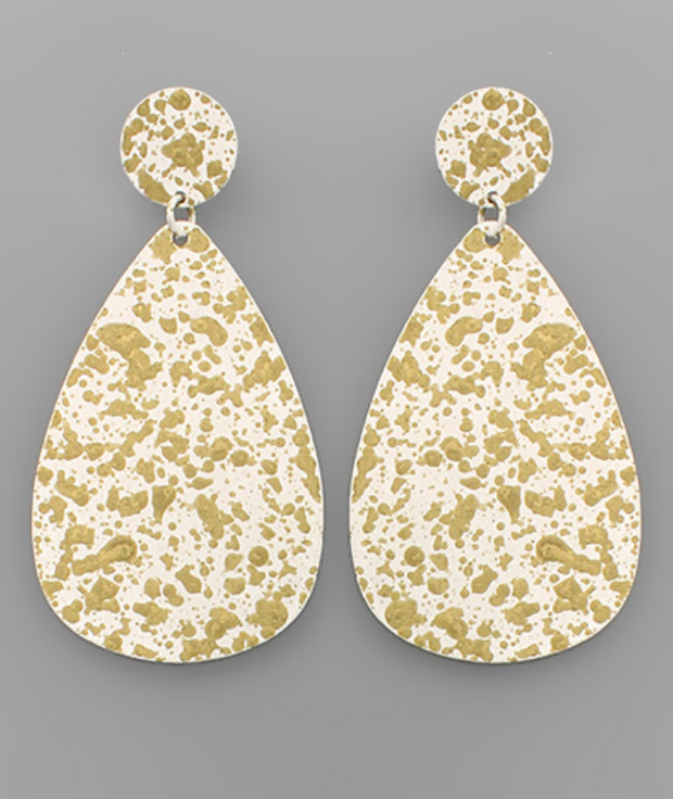 Brass Paint Teardrop Earrings