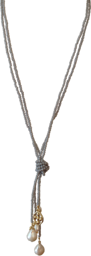 Gray Necklace with Baroque Pearls and Shield of Faith | Gracewear Collection