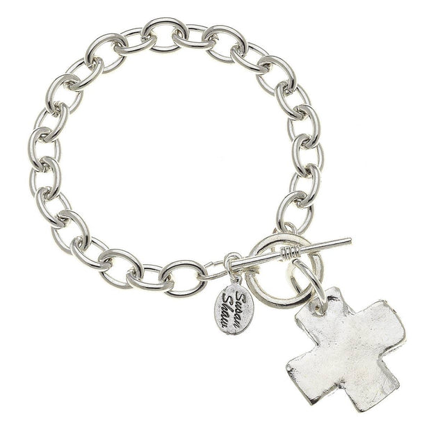 Silver Cross Toggle Bracelet