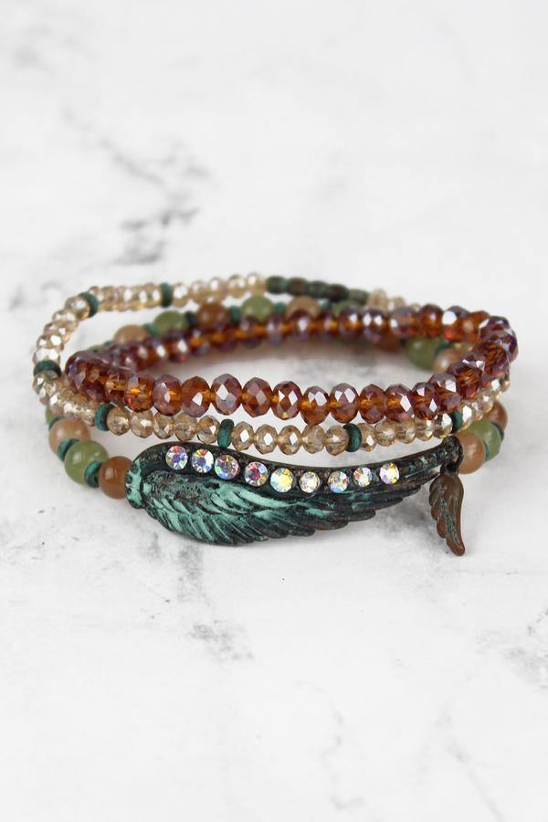 Iridescent Patina Wing Bracelet Set