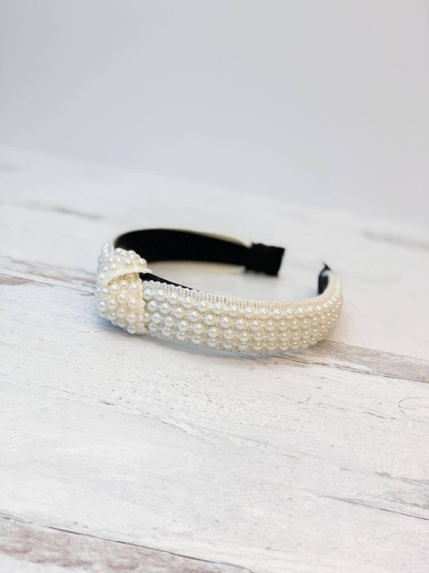 Top Knot All Over Pearl Headband | Fruit of the Vine Boutique