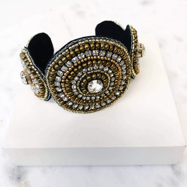 Gold and Black Beaded Cuff Bracelet - Fruit of the Vine