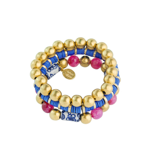 Fuchsia and Gold Savannah Stack Bracelets | Susan Shaw | Fruit of the Vine Boutique