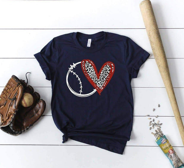 Baseball Cheetah Heart Tee