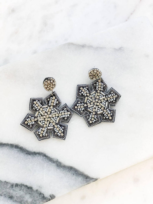 Beaded Glitzy Snowflake Statement Earrings - Silver