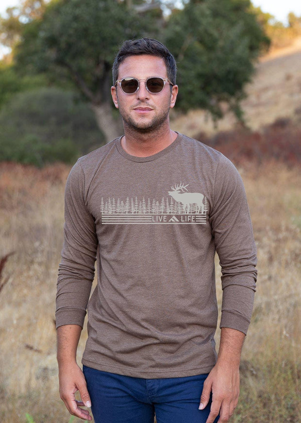 Wapiti Life Heather Brown Longsleeve | Live Life Clothing Co