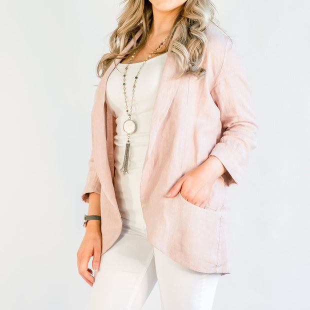 Brianna Linen Jacket in Rose - Fruit of the Vine