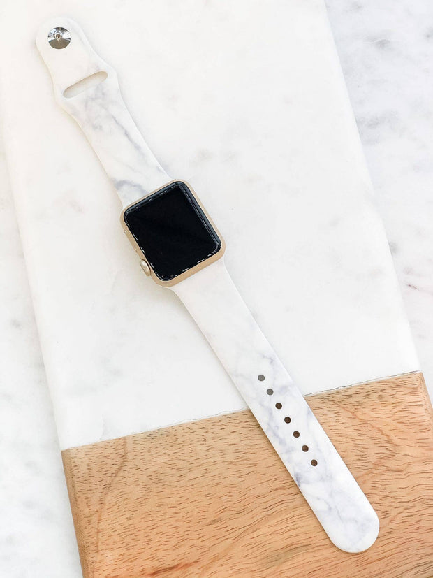 White Marble Silicone Smart Watch Band