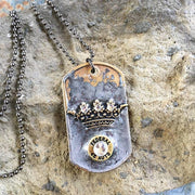 Bullet & Crown Dog Tag Ball Chain Necklace
