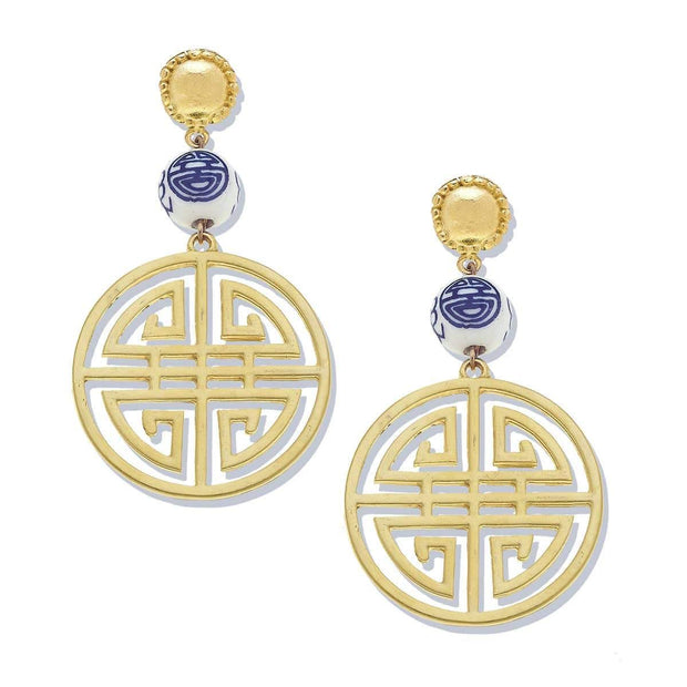 Gold Medallion and Porcelain Earrings | Susan Shaw | Fruit of the Vine Boutique