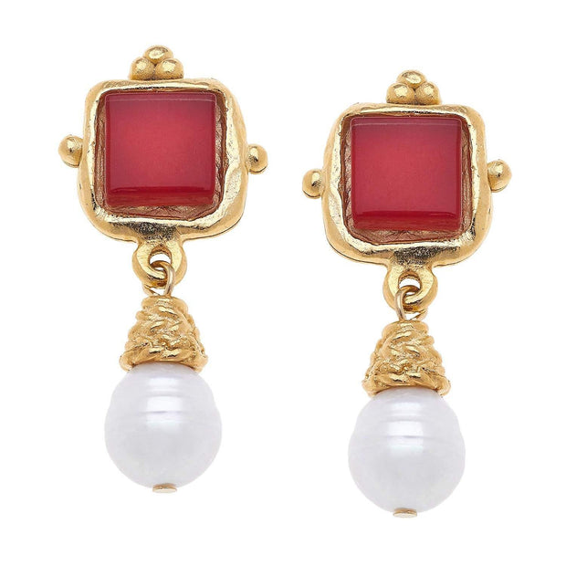 Red Charlotte Drop Earrings