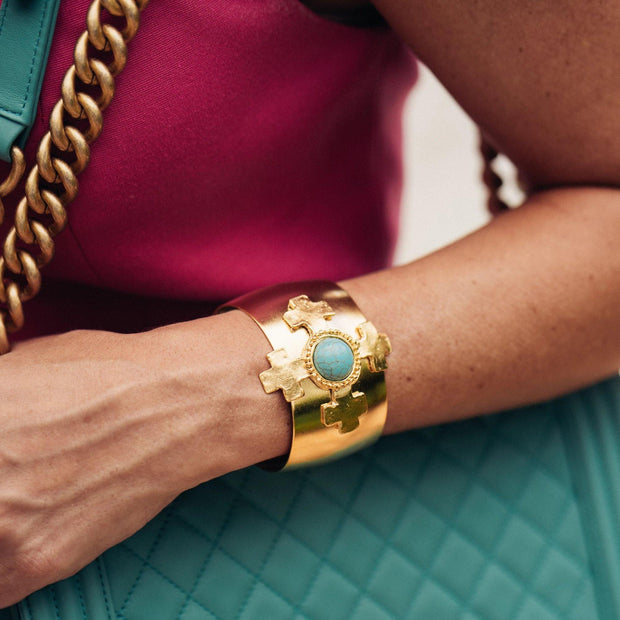 Gold Cross and Turquoise Cuff Bracelet | Susan Shaw | Fruit of the Vine Boutique