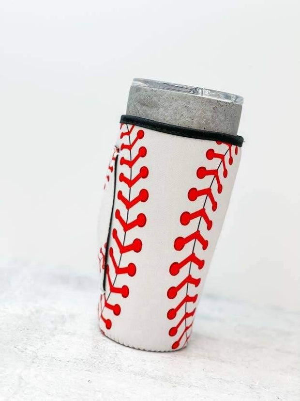 Insulated Cold Cup Sleeve with Handle - Baseball | Fruit of the Vine Boutique