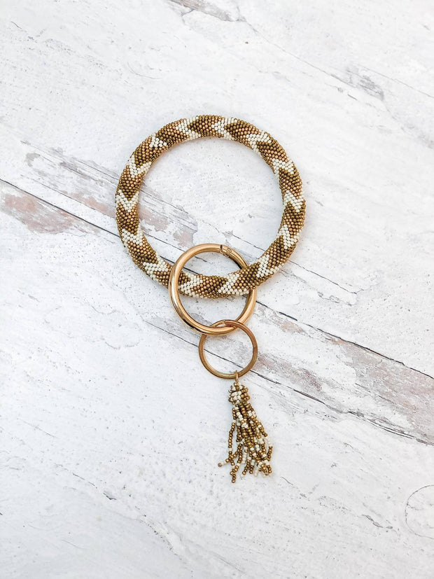 Seed Bead Tassel Key Ring Bangle
