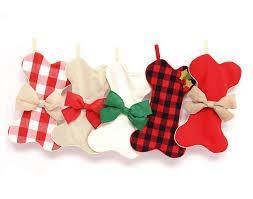 Red Gingham Dog Bone Christmas Stockings