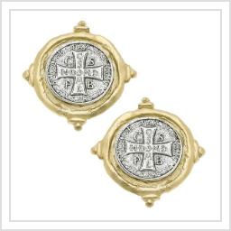 Gold and Silver St Benedict Cross Earrings