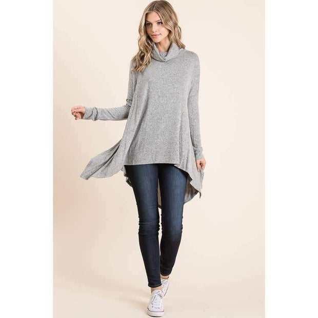 Heather Grey Turtleneck Sweater