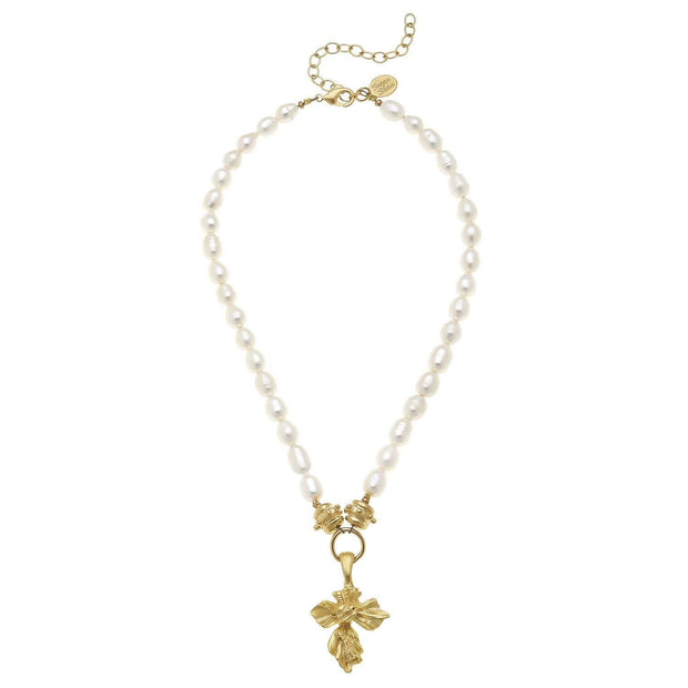 Gold Vintage Cross on Genuine Freshwater Pearl Necklace