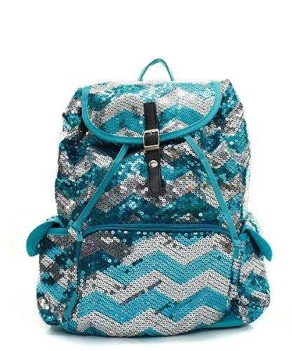 Aqua and Silver Sequined Chevron Large Drawstring Backpack