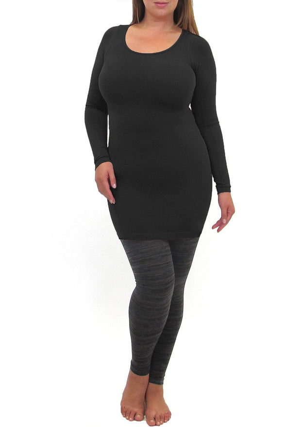 Long Sleeve Dress, Slip or Layering Top with Round Collar