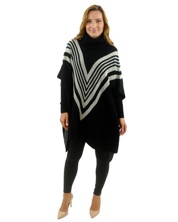Cut Crease Turtleneck Poncho