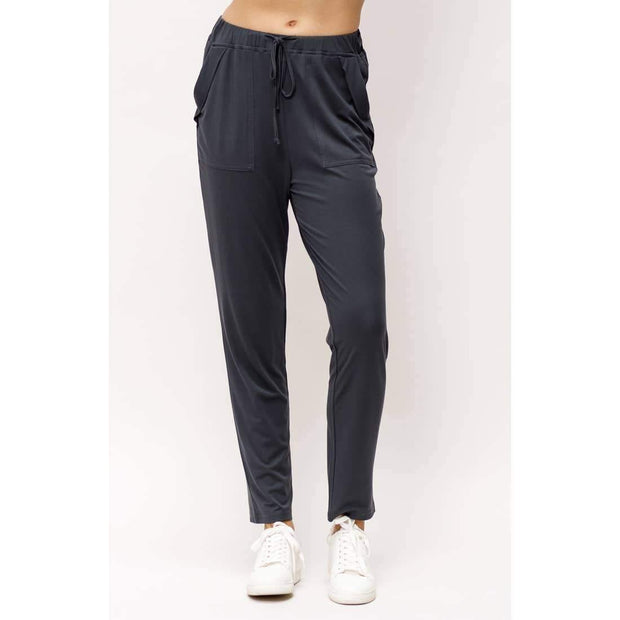Cupro Tapered Joggers in Charcoal