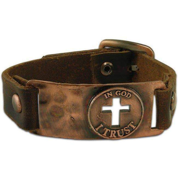 In God I Trust Men's Leather Bracelet - Fruit of the Vine
