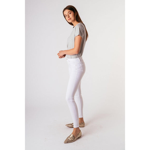 Nina High Waist Skinny Jeans in White | Fruit of the Vine Boutique