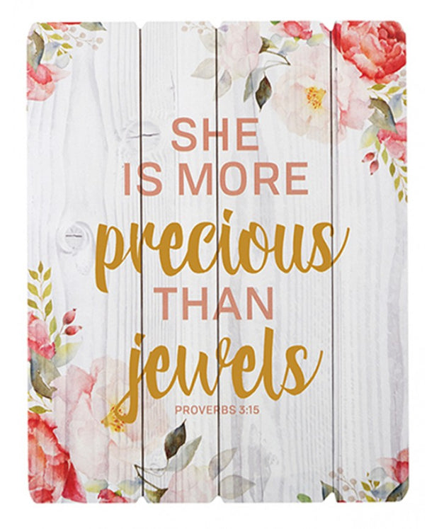 She Is More Precious Than Jewels Wood Wall Sign
