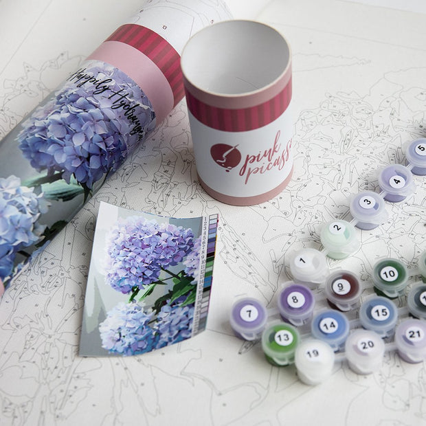 Happily Hydrangea Pink Picasso Paint by Numbers Kit - Fruit of the Vine