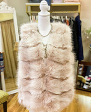 Blush Fur Vest with Pockets | Fruit of the Vine Boutique