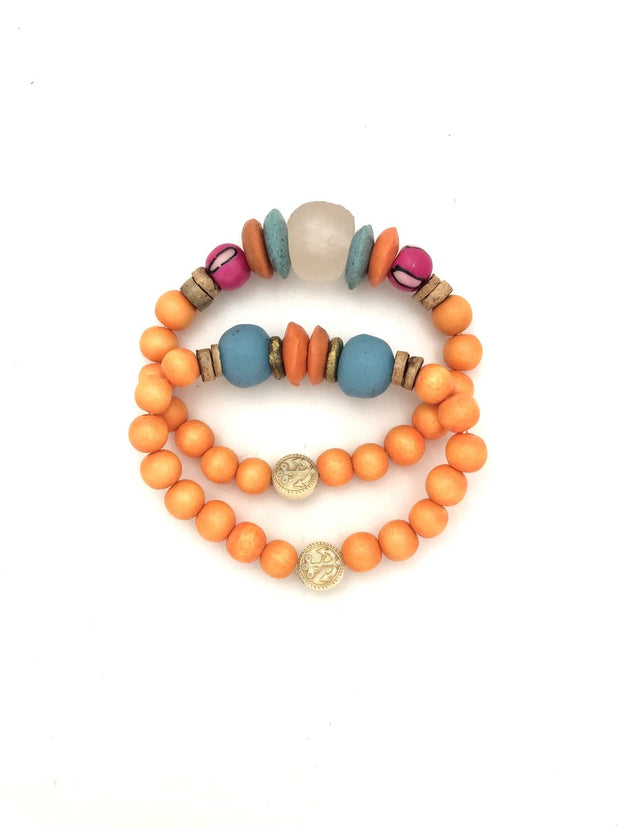 Anchor Beads Orange Stacking Bracelet Set - Fruit of the Vine