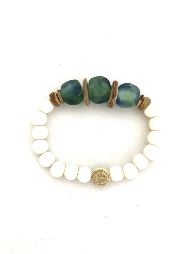 Anchor Beads White and Teal Bracelet - Fruit of the Vine