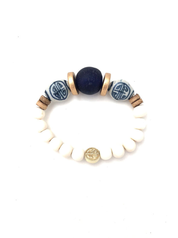 Anchor Beads Navy and White Bracelet