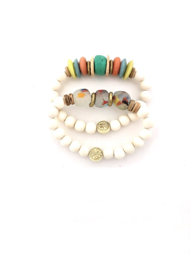 Anchor Beads White Stacking Bracelet Set - Fruit of the Vine