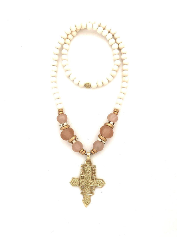 White and Blush Cross Necklace | Anchor Beads