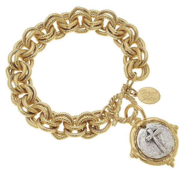 Gold and Silver Italian Intaglio Cross Bracelet