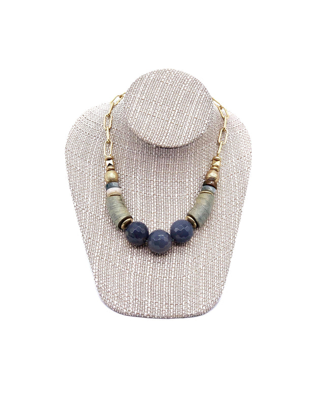 Green and Grey Beaded Statement Necklace | Fruit of the Vine Boutique