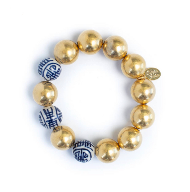 Gold Plated Porcelain Stretch Bracelet