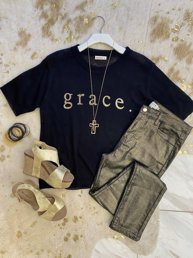 Grace Gold Foil Sweater Top