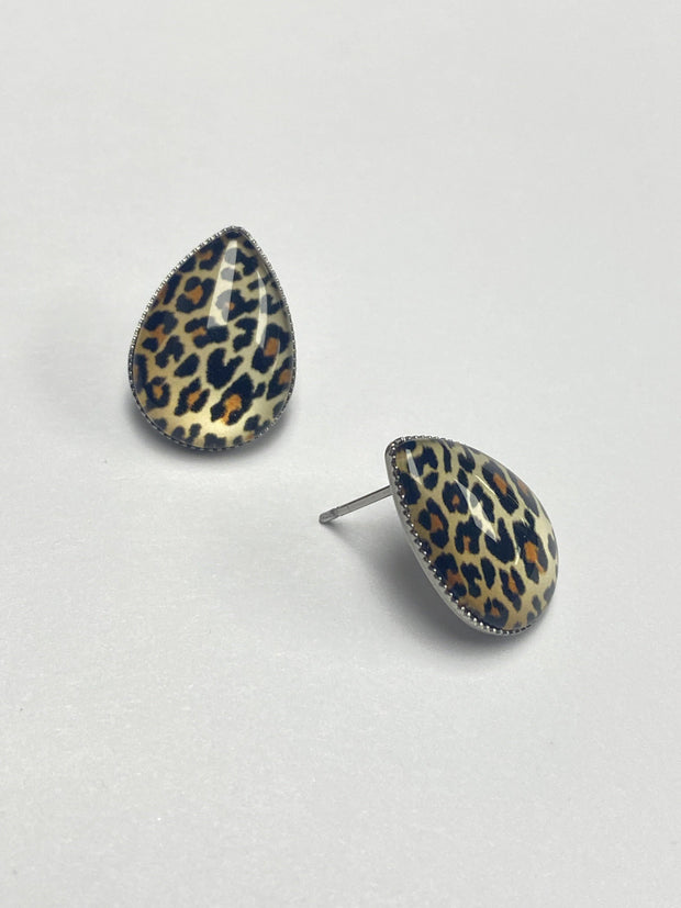 Big as Texas Leopard Teardrop Studs | Fruit of the Vine Boutique