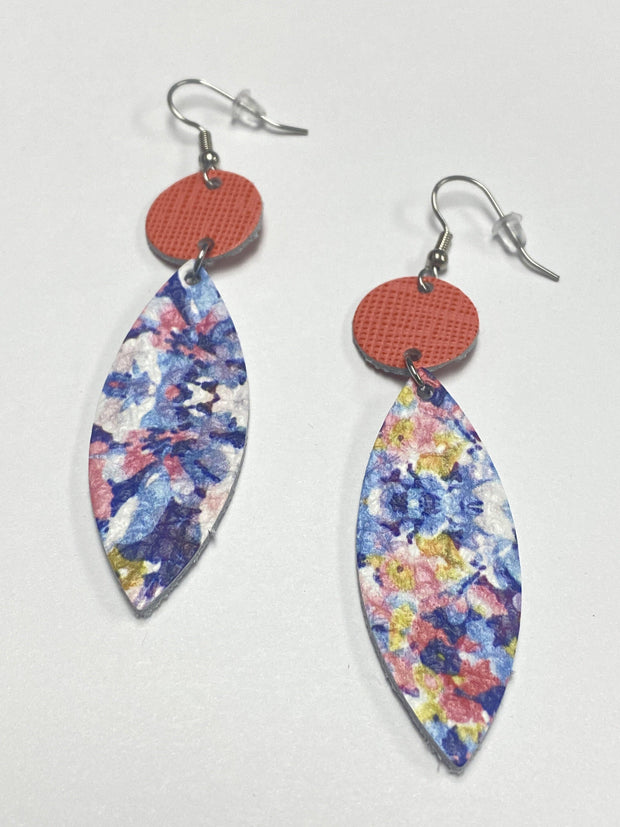 Coral and Floral Leather Earrings